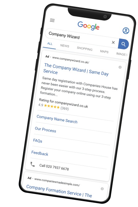 Company Wizard Google Ads Preview